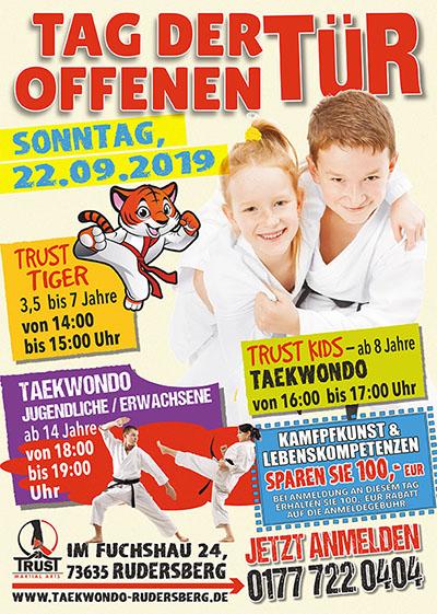 Flyer Tag der offenen Tür Taekwondo für Kinder und Erwachsene Rudersberg 2019